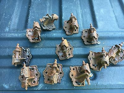 "Set of 11 antique cast iron shutter hinges BOTH pieces NEVER used 2.5"" x 2"" x 1"""