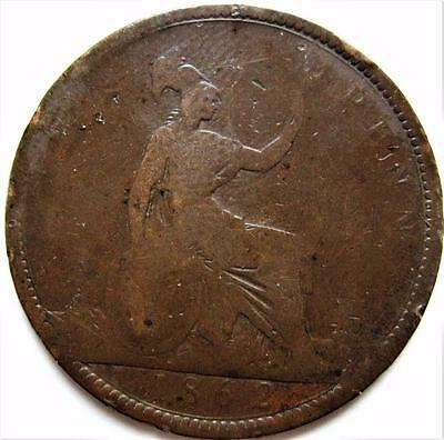 1862 Great Britain Penny ~ Victoria Km# 749.2 Bronze Coin England Lot R22 Uk