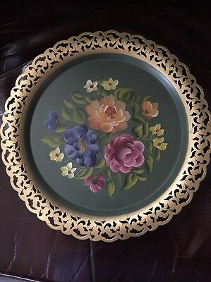 VintageTole Painted Tray Round Metal Gold Edge Toleware Floral Nashco