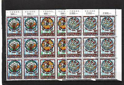 LUXEMBOURG - SG1323-1325 MNH 1992 150th ANNIV POST & TELECOMS OFF - BLOCKS OF 9