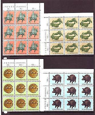 Luxembourg - Sg902-905 Mnh 1973 Archaeological Relics - Blocks Of 9
