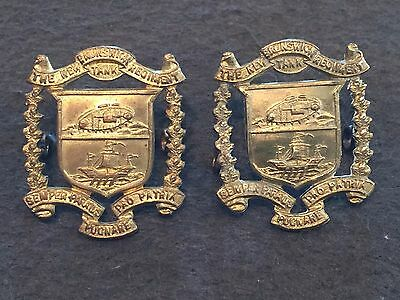 WW 2 New Brunswick Regiment (Tanks) Pair of Collar Badges Canadian Armoured !