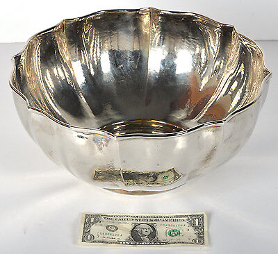 "Huge 13"" Diameter Battuto A Mano Silver Plated Hammered Punch Bowl"