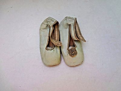 Vintage Antique Edwardian kid leather baby booty shoes very pale mint green asis