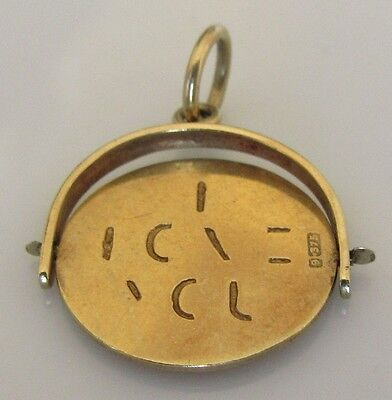 """Vintage 9ct yellow gold """"I Love You"""" spinner charm/pendant"""