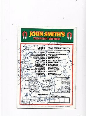 Original Multi Signed Leeds Rugby League Players Signed Programme