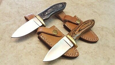 "Fixed Blade Skinner Knife 3 1/2"" Blade Choice Wood or Bone Handle Leather Sheath"
