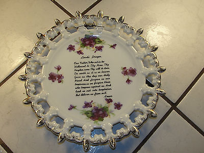 Lefton hand painted, purple flowers, religious, Lord's Prayer wall plate