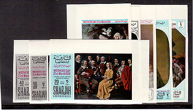 Sharjah Emirates 1968 #m426B/33B Set 8 Stamps Imperforated Mint Nh Mothers Day !