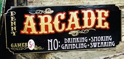 Custom Family Arcade Sign, Pinball,You pick the Name, Gold Leaf, Very Nice