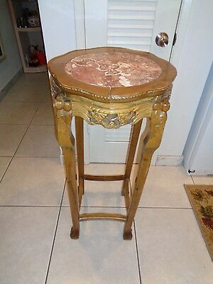 "Antique Hand Carved  Wooden Pedestal Table W/ Inlaid Marble Top (36 by 17.5"")"