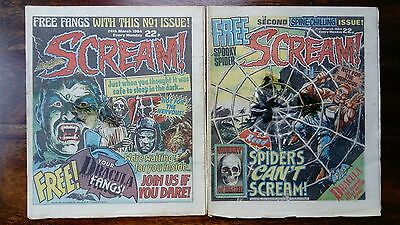 SCREAM COMIC  ISSUES  1 & 2 (1984) Free Gift Attached to Issue 2 (Free P&P) RARE