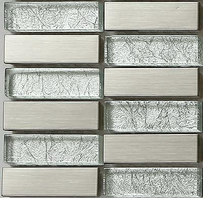 SAMPLE Silver Glass & Brushed Stainless Steel Mosaic Tiles Random Mix MT0103