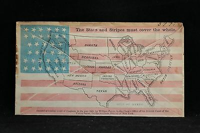 Civil War: Unused Perris Patriotic Cover, Map of the USA on Allover Flag