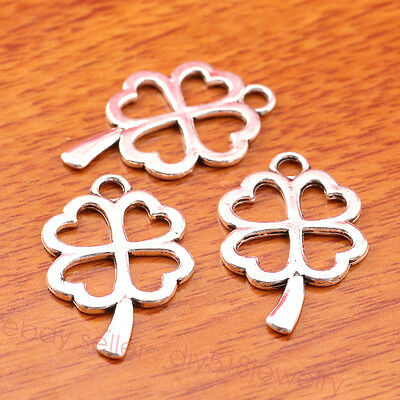 10 piece 24*17mm Charms Four Leaf Clovers For Luck Tibetan Silver Jewelry 7347B