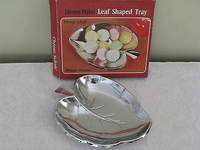 "chrome plated LEAF SHAPED CANDY DISH / TRAY 4½"" x 5½"" NIB made in Hong Kong"