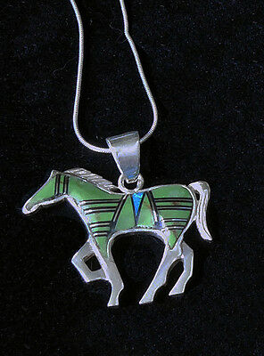 STERLING SILVER Prancing Horse Inlay Fire Opal Pendant Rope Chain Jewelry Lot