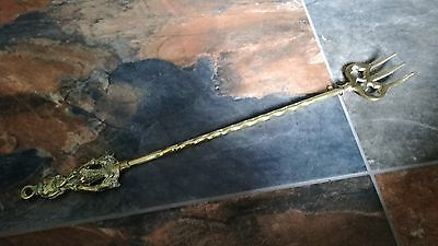 Antique Victorian Lady  Brass 3 Prong Toasting Fork 48 Cm Long