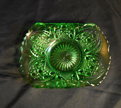 EAPG Card Receiver Cane Insert Pattern Green Glass Tarentum Antique c. 1906