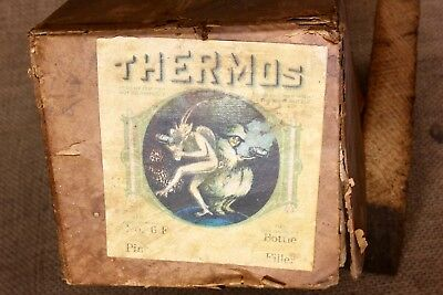 THERMOS shipping card board box ONLY old vintage Devil & Witch label No. 6F