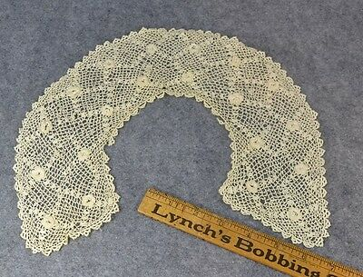 lace collar Irish crochet round white Victorian antique  original