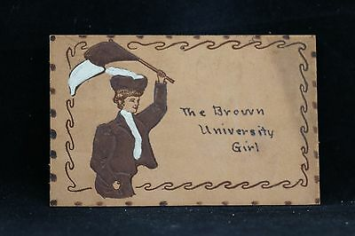 The Brown University Girl 1906 Hand Painted Leather Postcard