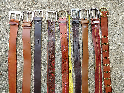 Lot Of 10 Thick Leather Contemporary Leather Belts With Buckles Sz 32-38