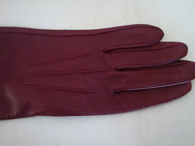Long Leather Gloves Dents Size 8 Claret/burgandy Soft Leather Elbow Length Vgc!!