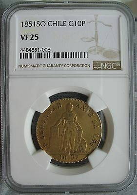1851 SO Chile Gold 10 Pesos NGC VF-25