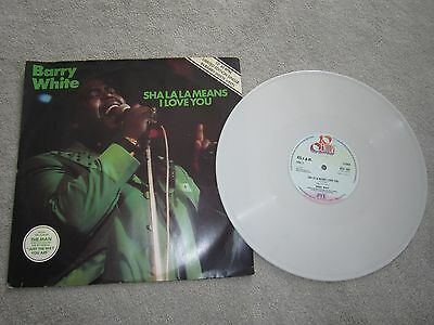 "12"" vinyl single,Barry White ,sha la la means i love you , white colored disc"