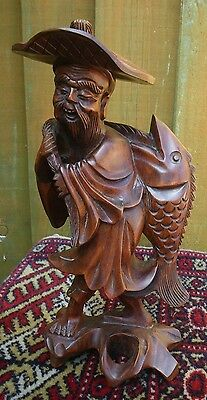 Antique Hand Carved Chinese Hard Wood Fisherman & Large Fish Figurine With Hat
