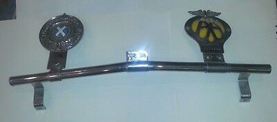 Original Badge Bar With Two Badges, Good Enamel And Chrome