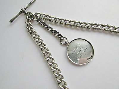 Old antique sterling silver double Albert watch chain with slider & fob 68 grams