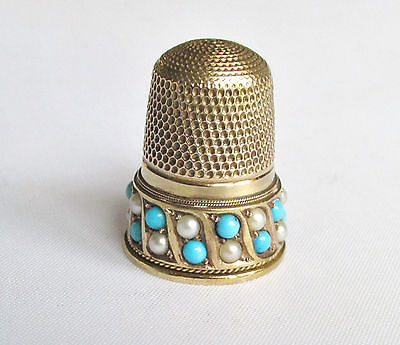 Old antique solid gold 15ct pearl & turquoise thimble 7.9 grams Birmingham 1906