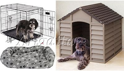 Deluxe Outdoor Durable All Weather Trio Pet Dog Kennel House+Crate+Cushion Bed