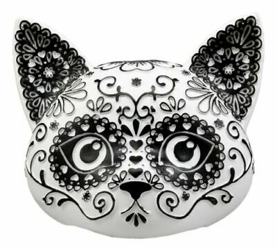 "Day of the Dead DOD Kitty Cat Sugar Skull Bust Figurine 5"" L Black White"