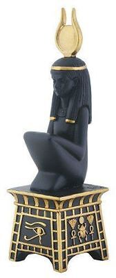 Black and Yellow Egyptian Isis On Pedestal Decorative Statue