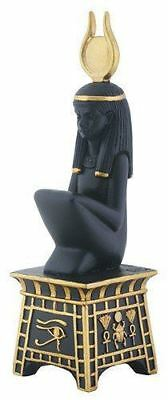 "Black and Yellow Egyptian Isis On Pedestal Decorative Statue 5.75"" Height"