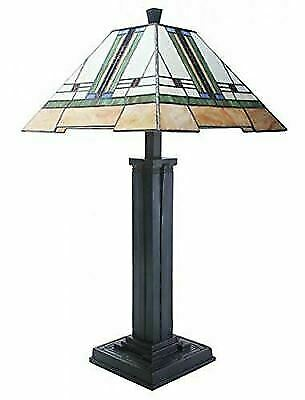 """Frank Lloyd Wright 28"""" Mission Style Art Glass Table Lamp"""