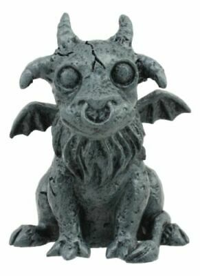 """Gothic Winged Guardian Baby Goat Gargoyle Statue Faux Stone Resin Small 2.5""""H"""
