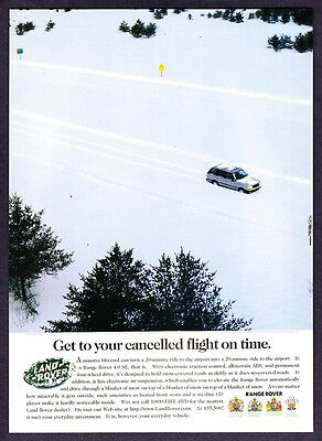 "1997 Land Rover Range Rover on Snow Covered Road photo ""Get There on Time"" Ad"