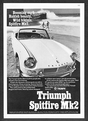 "1967 Triumph Spitfire Mk2 Convertible photo ""Booming Surf"" vintage print ad"