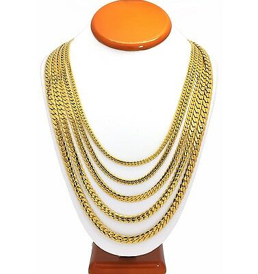 Mens Miami Cuban Link Stainless Steel Chain 18K Gold Plated Necklace