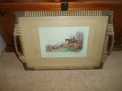 Retro Serving Tray Sanderson-Wells Hunting Print Inset Under Glass IN FULL CRY