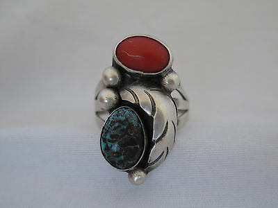 Vintage Native American Sterling, Coral & Turquoise Ring - Size 9
