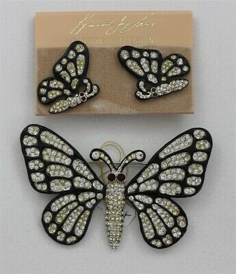 Vintage KENNETH LANE Couture Butterfly Crystal Rhinestones Brooch & Earrings
