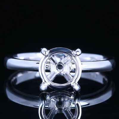 7.5mm Round Cut Wedding Semi Mount Solitare Engagement Ring Solid 10K White Gold