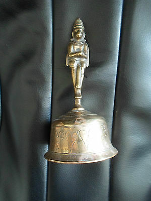 Unusual Vintage Brass Bell Man+Monkey Faces - 2 Different Faces on Handle