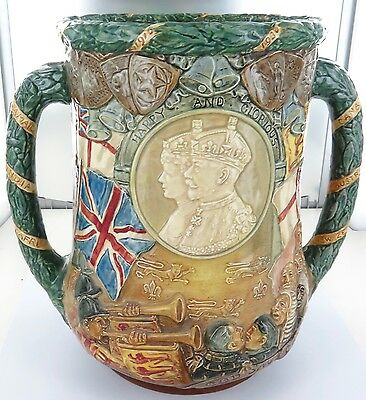 .rare 1935 Royal Doulton Huge Loving Cup. 1910 - 1935 King George V & Queen Mary