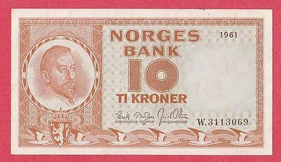 1961 Norway 10 Kroner Note